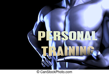 Personal training With a Business Man Holding Up as Concept
