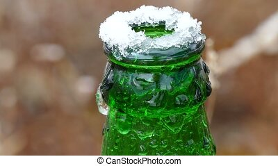 beer bottle frozen neck on top of ice - beer bottle frozen...