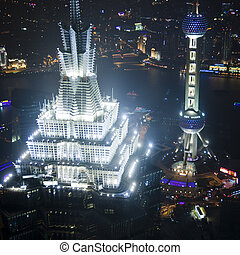 shanghai - Birds eye view of Shanghai Pudong at night