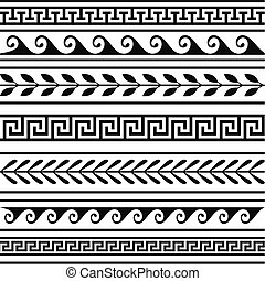 Set of geometric greek borders, isolate design elements Full...