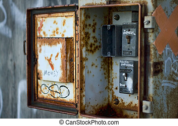old electrical box - Old, rusty, electrical box in abandoned...