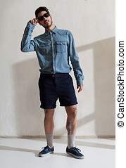 youth trend - handsome young adult wearing casul clothes and...