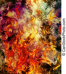 Fire flames background, LAVA structure. Earth Concept.