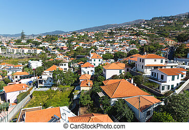 City with little houses - Up view of the beautiful city with...
