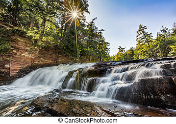 Nawadaha Falls - The Presque Isle River flows over Nawadaha...
