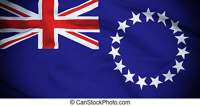 Cook Islands Flag - Wavy and rippled national flag of Cook...