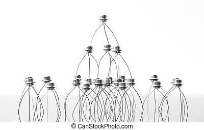 Concept of transistors acrobats pyramid