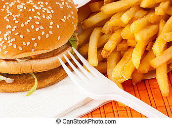 Fast food set of fried potatoes and burger