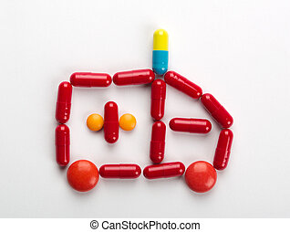 Pills ambulance car - Ambulance car symbol made from...