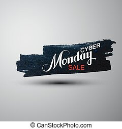 Cyber Monday Sale label on the grunge ink stain Promotional...