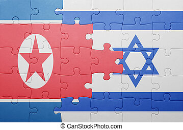 puzzle with the national flag of israel and north korea...