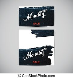 Cyber Monday Sale label on the ink stain Promotional flyer...