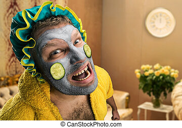 Strange man with face pack - Strange, crazy man with face...