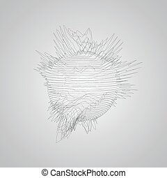 3D distorted wireframe sphere Futuristic vector illustration...