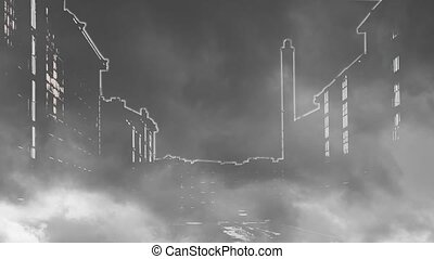 Night city shrouded in smoke - Black silhouettes of houses...