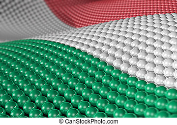 Wave of spheres in the colors of Hungary