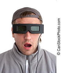 Surprised player with 3-D glasses Isolated on white