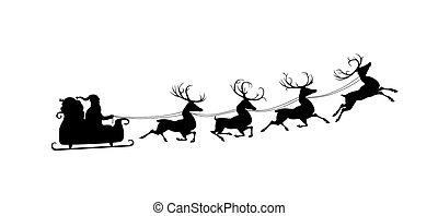 Silhouette of Santa and his reindeers - Silhouette of Santa...