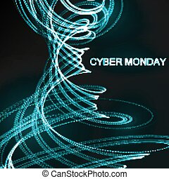 Cyber Monday Promotional Poster 3D illuminated distorted...