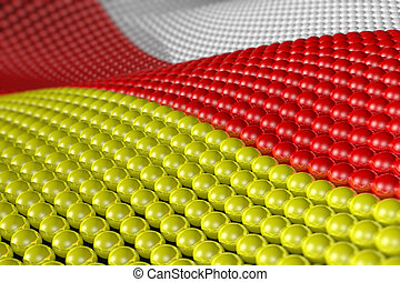 Wave of spheres in the colors of South Ossetia
