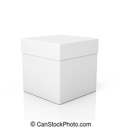 White paper box on a white background
