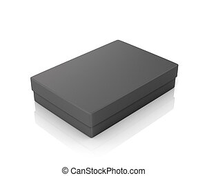 Black paper box on a white background