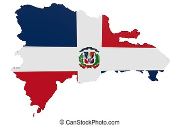 Dominican Flag Map - Map of the Dominican Republic in the...