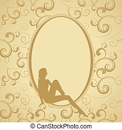 golden vintage frame with beauty woman sillhouette