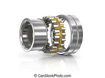 Disassembled bearing on a white background. We see...