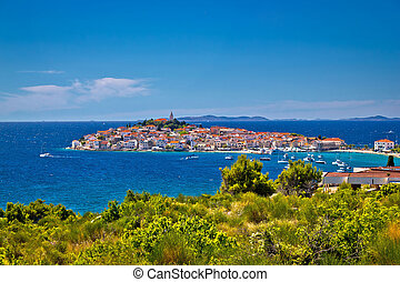 Town of Primosten dalmatian town on rock view, Dalmatia,...