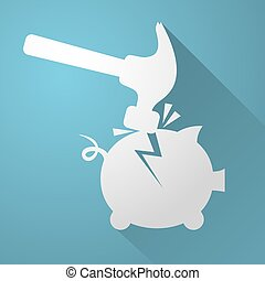 break piggy bank icon - Creative design of break piggy bank...