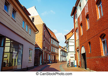 Timber Houses Old Town Center. Lower Saxony, Germany -...