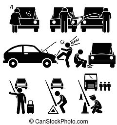 Car Breakdown Broke Down Roadside - Set of human pictogram...