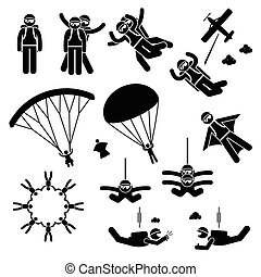 Skydiving Skydives Skydiver - Set of human pictogram...