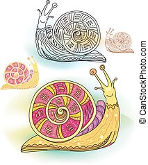 Set of abstract decorative snails
