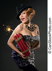 Woman holding dynamite - Beautiful woman in vintage style...