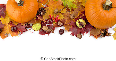 At the top pumpkins with autumn leaves for thanksgiving day...