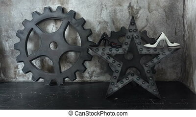 The general plan of the two gears, star and two pairs of...