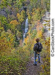 el gozar, el, otoño, colores, de, Letchworth, estado,...