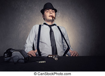 mafia relax - old fashioned gangster holding his suspenders...