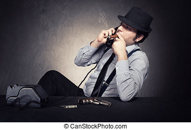 mafia conversation - old fashioned gangster having a...