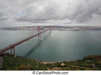 The 25 de Abril Bridge in Lissabon, Portugal