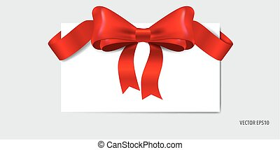 Cards with red ribbon.