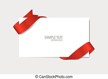 Cards with red ribbons. Vector illustration.