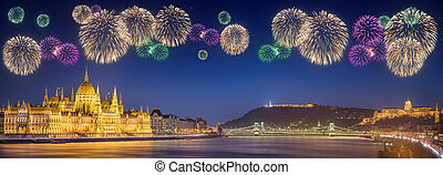 Beautiful fireworks under hungarian Parliament and Liberty...