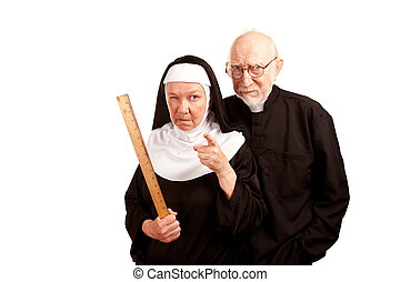 Funny Priest and Nun - Funny priest with mean nun holding...