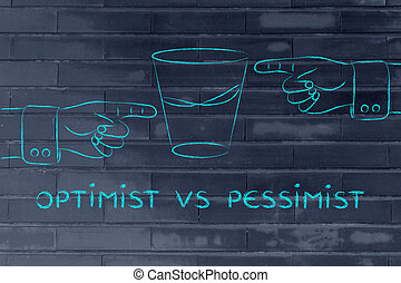 glass of water and hands pointing, with text Optimist vs...