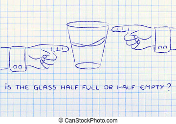 glass of water and hands pointing, with text is the glass...