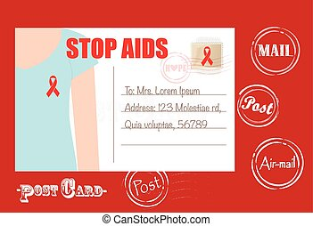 Aids Awareness cards design, women wearing ribbons for World...