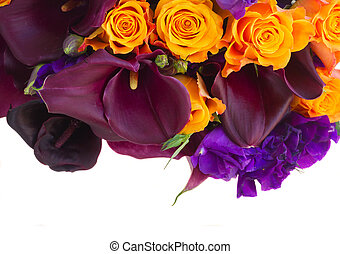 Calla lilly and eustoma flowers - Bouquet of fresh calla...